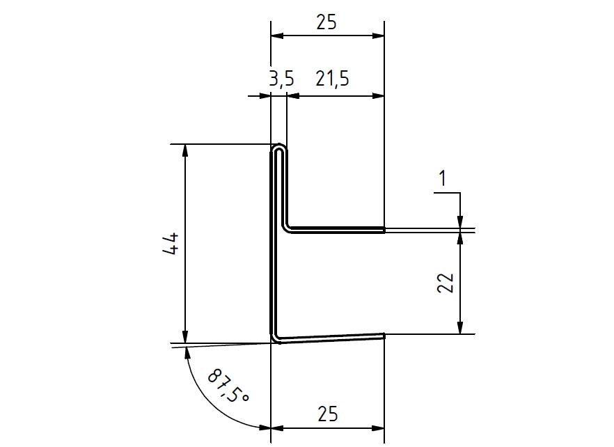 edelstahl regenrinne f r glasvordach einfassprofil b 13 mm. Black Bedroom Furniture Sets. Home Design Ideas